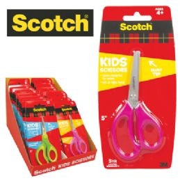 36 Units of SCOTCH KIDS SCISSORS 5 INCH SOFT TOUCH HANDLES ASTD IN DISPLAY - Scissors