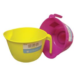 24 Units of MIXING BOWL 4 1/2 CUPS WITH POUR SPOUT AND HANDLE ASSORTED - Plastic Bowls and Plates