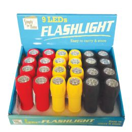 48 Units of RUBBER FLASHLIGHT 4 IINCHES 9 LED ASSORTED COLORS IN DISPLAY - Flash Lights