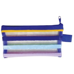 48 Units of School Supply Pouch Mesh Nylon 6.5x3.5 Inches - Pencil Boxes & Pouches