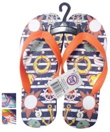 24 Units of BOYS FLIP FLOP OCEAN ASSORTED SIZES 11-3 AND COLORS - Boys Flip Flops & Sandals