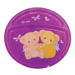 24 Units of Divided Plate For Children 8 Inch Diameter - Plastic Bowls and Plates