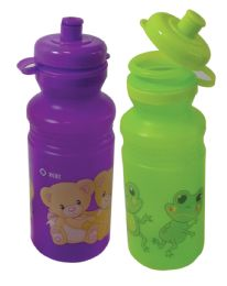 24 Units of Water Bottle Childrens 16 Ounces Assorted Designs - Drinking Water Bottle
