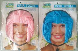 36 Units of HAIR TOWEL MICROFIBER ONE SIZE FIT ALL ASSORTED LIGHT PINK AND LIGHT BLUE - Home Goods