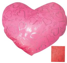 24 Units of Printed Heart Pillow 14 X 12 Inches Assorted Colors - Valentine Cut Out's Decoration