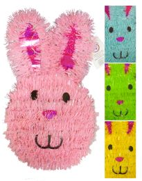 24 Units of EASTER BUNNY DECORATION 13 INCH TINSEL ASSORTED COLORS - EASTER