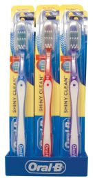 96 Units of ORAL B SHINY CLEAN TOOTHBRUSH SOFT WITH CAP ASSORTED COLORS WITH SHELF DISPLAY BLUE/GREEN/RED/PURPLE - Toothbrushes and Toothpaste