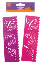 36 Units of Halloween Stencils 8 Count Purple/pink Prepriced $0.97 - Halloween & Thanksgiving