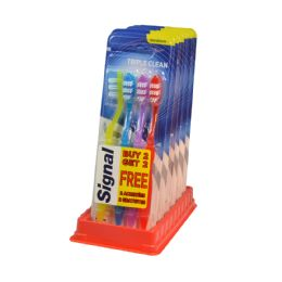 24 Units of SIGNAL TOOTHBRUSHES 4 PK TRIPL - Toothbrushes and Toothpaste