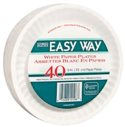 24 Units of EASY WAY 9 40 CT PAPER PLATE MICROWAVE SAFE - Disposable Plates & Bowls