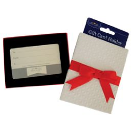 48 Units of GIFT CARD HOLDER WITH RED BOW 4.5 X 3.5 INCH WHITE - Card Holders and Address Books