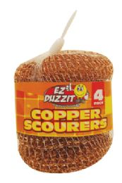 48 Units of Copper Scourer 4 Pack 15 Grams In Net Bag - Scouring Pads & Sponges