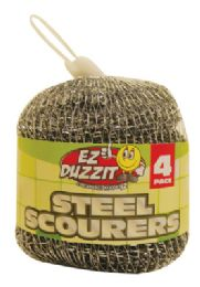 48 Units of STEEL SCOURER 4 PACK 15 GRAMS IN NET BAG - Scouring Pads & Sponges