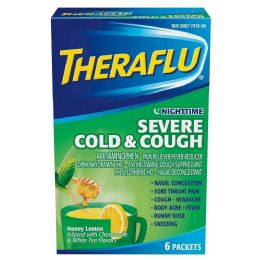 12 Units of THERAFLU GREEN 6CT NIGHTTIME SEVERE COLD AND COUGH - Pain and Allergy Relief