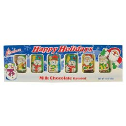 24 Units of Santas And Snowman Tray 1.5 Oz Milk Chocolate Flavored - Christmas Decorations