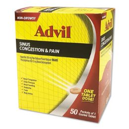 50 Units of ADVIL SINUS CONGESTION 1PK BOX - Pain and Allergy Relief