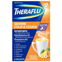12 Units of THERAFLU ORANGE 6CT NIGHTTIME SEVERE COLD AND COUGH - Pain and Allergy Relief