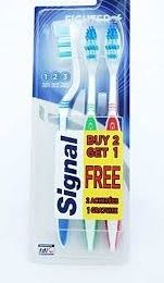 24 Units of Signal Toothbrushes 3 Pk Soft Fighter - Toothbrushes and Toothpaste