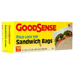 24 Units of Goodsense Sandwich Bags 100 Ct 6.25x5.5 Fold Lock Top (gds24s100) - Food Storage Containers