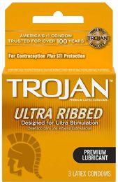 12 Units of Trojan 3's Rib Lub Brown - Personal Care Items