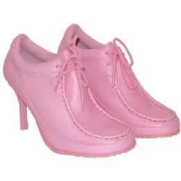 18 Units of LADIES FUNKY HIGH HEEL SNEAKER SHOES SIZES 5 - 11 PINK WITH DETAILED STITCHING. BOXED - Women's Heels & Wedges