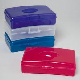 48 Units of PENCIL BOX PLASTIC 4ASST COLORS - Pencil Boxes & Pouches