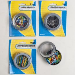 48 Units of Stationary Filled Magnetic Tins Pushpins/paperclips/binder Clips - School Supplies