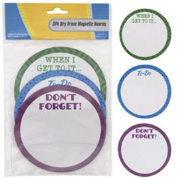36 Units of Dry Erase Boards Magnetic 3pk Round Reminder 5x5in - Office Accessories