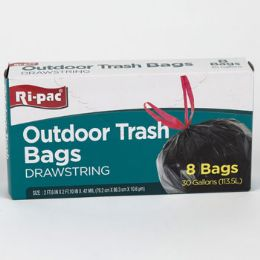 24 Units of Trash Bags 8ct - 30gal Outdoor - Garbage & Storage Bags