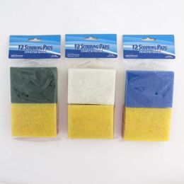 36 Units of Scouring Pad Flat 12pc 3x4in - Scouring Pads & Sponges