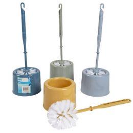 60 Units of Toilet Brush W/holder Set 13in 4ast Colors/upc Label - Toilet Brush