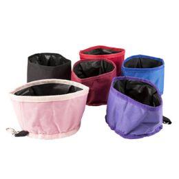 60 Units of Pet Bowl Trave 6d X 4h Foldable 45 Oz 6 Colors In Pdq - Pet Accessories