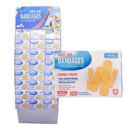 96 Units of Bandages 100ct Family Pack - First Aid and Bandages