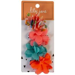 30 Units of Hair Clip 4pk Chiffon Bright Floral Poofs Lily Jane Stocklot - Hair Accessories