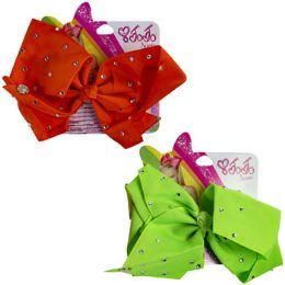 24 Units of Hair Clip Jumbo Butterfly Bow W/crystal Gems Neon Orange/lime - Hair Accessories