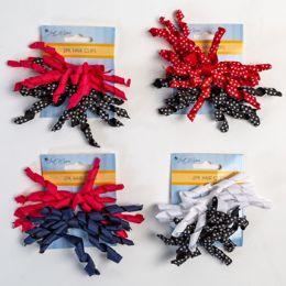 30 Units of Hair Clip 2pk Curly Bow Asst Grosgrain Solid/polka Dot 5x3in - Hair Accessories