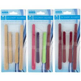 96 Units of Emery Board 24pc Plain Or Color - School Supplies