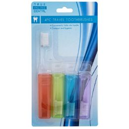 24 Units of TOOTHBRUSH TRAVEL FOLD-UP 4PK - Toothbrushes and Toothpaste