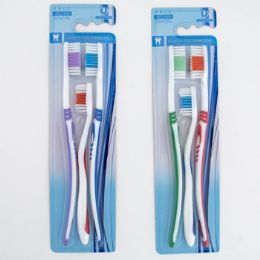 48 Units of Toothbrush 3pk 2 Adult/1 Child - Toothbrushes and Toothpaste