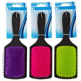 24 Units of Hair Brush 3.15in Paddle 3ast - Hair Accessories