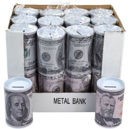 24 Units of Bank Metal W/removable Lid - Coin Holders & Banks