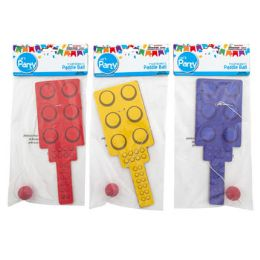 48 Units of Paddle Ball Block Shape 4asst Color Blue/red/yellow/green Pbh - Sports Toys