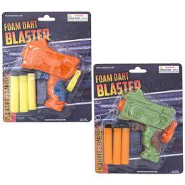 24 Units of Foam Dart Blaster Toy 2ast Colors W/3 Foam Darts Blister - Toy Weapons