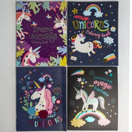 48 Units of Coloring Book Foil Unicorn - Coloring & Activity Books