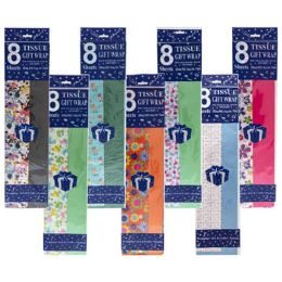 72 Units of Tissue 8sht Longfold Prints W/ Coor Solids Everyday Themes - Gift Wrap