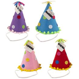 24 Units of Birthday Party Cone Felt Hat - Party Novelties