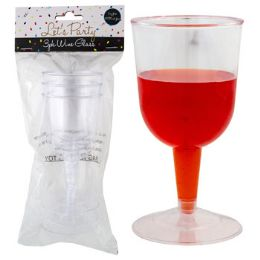 24 Units of WINE GLASS PLASTIC 3PK 5 OZ - Plastic Drinkware