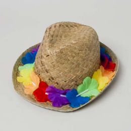 24 Units of Luau Straw Fedora W/floral Band Natural Color Luau ht - Caps & Headwear
