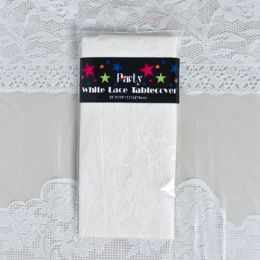 48 Units of Tablecover 54x108 White Lace - Party Paper Goods
