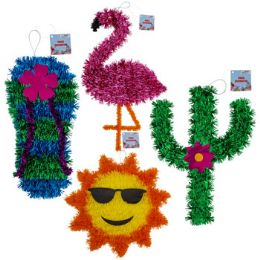 24 Units of Luau Tinsel Decorations 4ast - Hanging Decorations & Cut Out